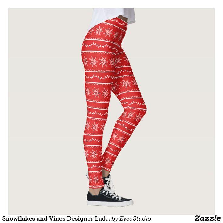 Snowflakes and Vines Designer Ladies Leggings
