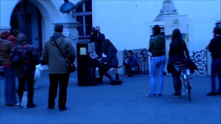 Playing piano outside in Bratislava