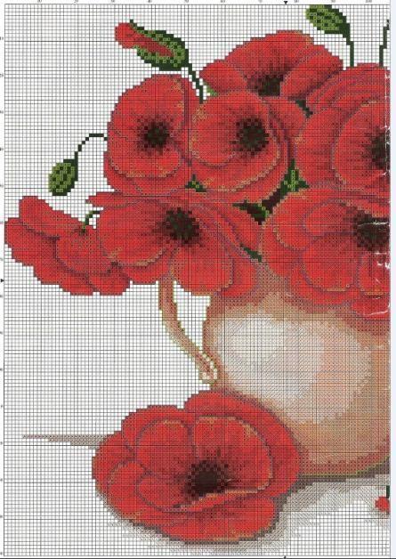 Jarrón con flores | laboresdeesther Punto de cruz gratis