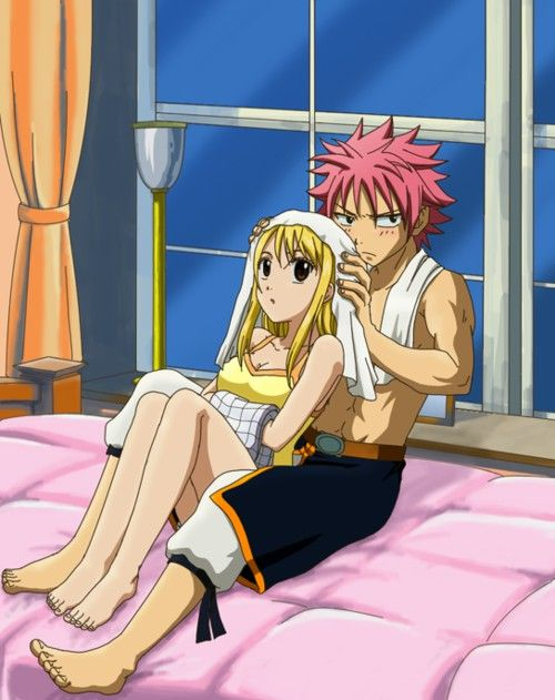 """Fairy Tail, Natsu and Lucy... I love Natsu's expression. """"My Lucy. MINE!"""" (Not a real episode)"""