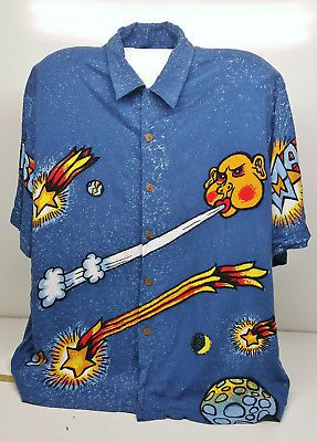 Rare Royal Mambo Loud Mens Shirt Size XL Cosmic Sun Moon Planets Reg Mombassa