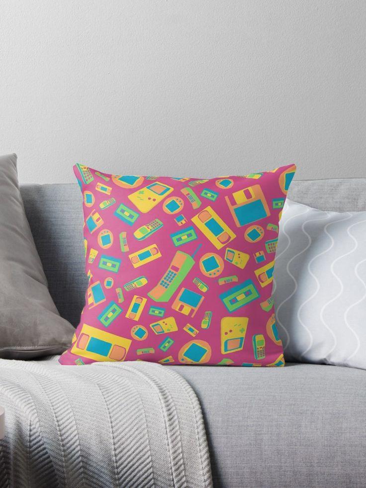"""90s Technology Pattern"" Throw Pillows by ShiyaDigital   Redbubble"