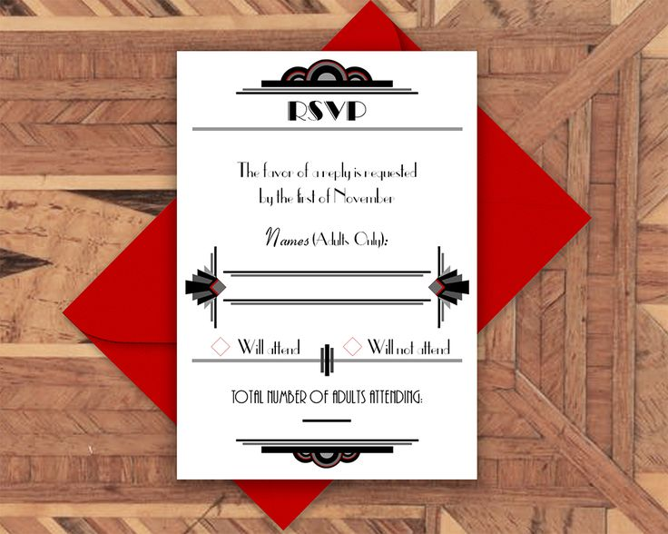 The RSVP for our Art Deco invitation suite, nowas new print-your-own invitations available on Etsy  Printable Wedding Invitation- Art Deco, Gatsby, 1920s, Wedding Invitation, Invitation Suite, Wedding Invite