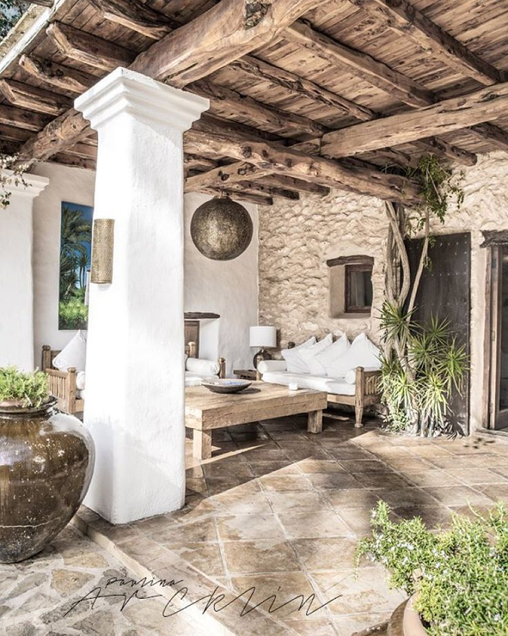 white, wood and stone patio