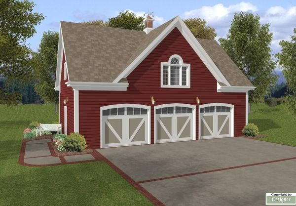 The Hudson Carriage House is a 3 car garage with a 750 sq. ft. studio above. With siding exterior reminiscent of a country barn, this plan would be perfect temporary quarters during construction of your permanent home.
