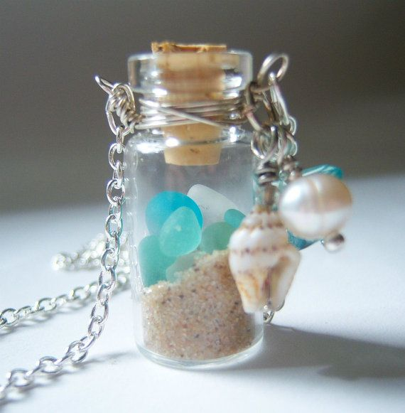 Glass Vial Necklace Glass Bottle Necklace Lake Michigan Beach Sand and Sea Glass Shell 24 inches on Etsy, $20.00