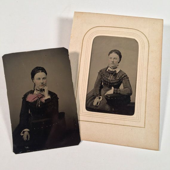 Fine Pair of Tintypes of a Young Lady 19th by BittenbenderAndMoll