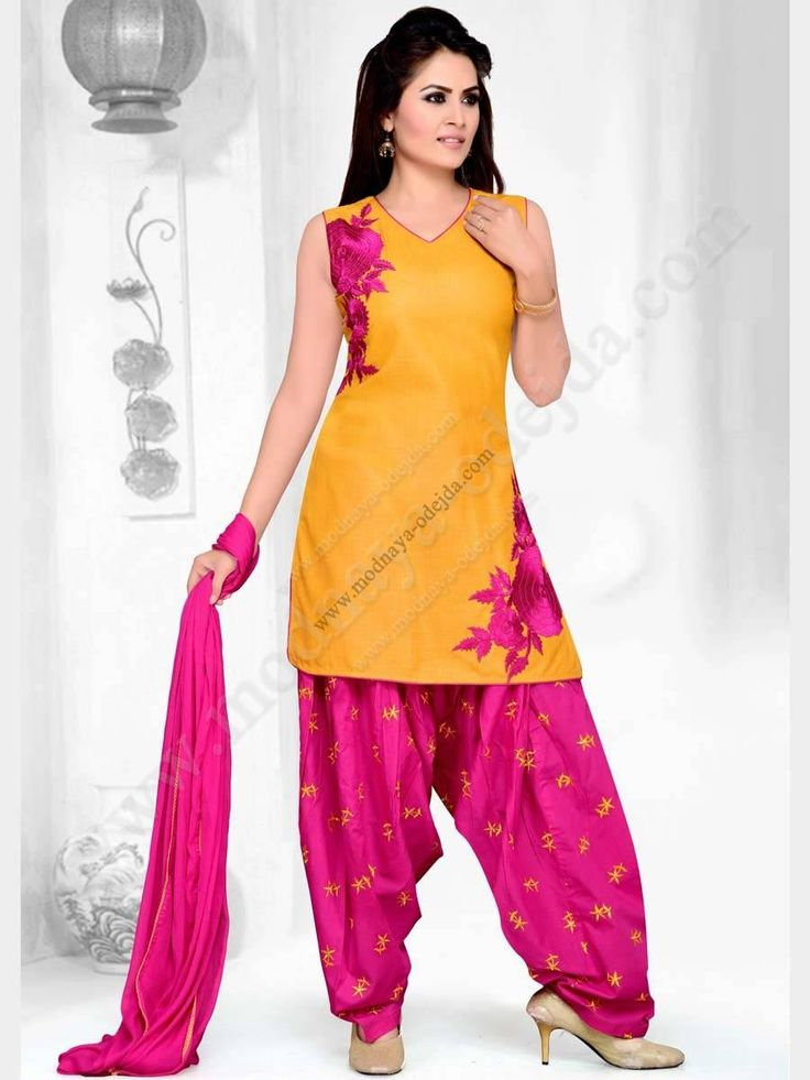 Жёлтый камис (камиз)   розовые брюки фасона патиала   дупатта