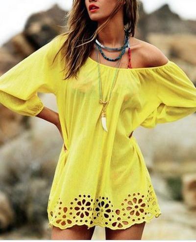 Cute yellow hollow out hem dress - off shoulder