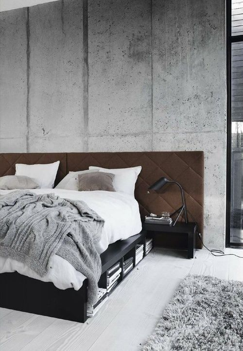 Concrete and grey bedroom interior