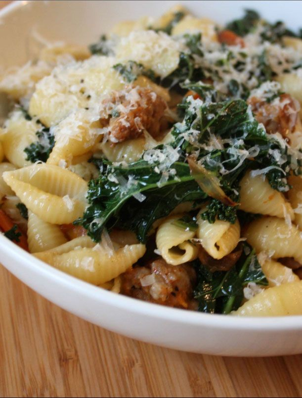If you're not yet a kale lover, this is the recipe that will change your mind. And if you are, this hearty pasta dinner will rock your world. Cooking with aromatic vegetables and broth brings out the softer side of our favorite leafy green and makes a scrumptious sauce for this sausage and pasta dish.