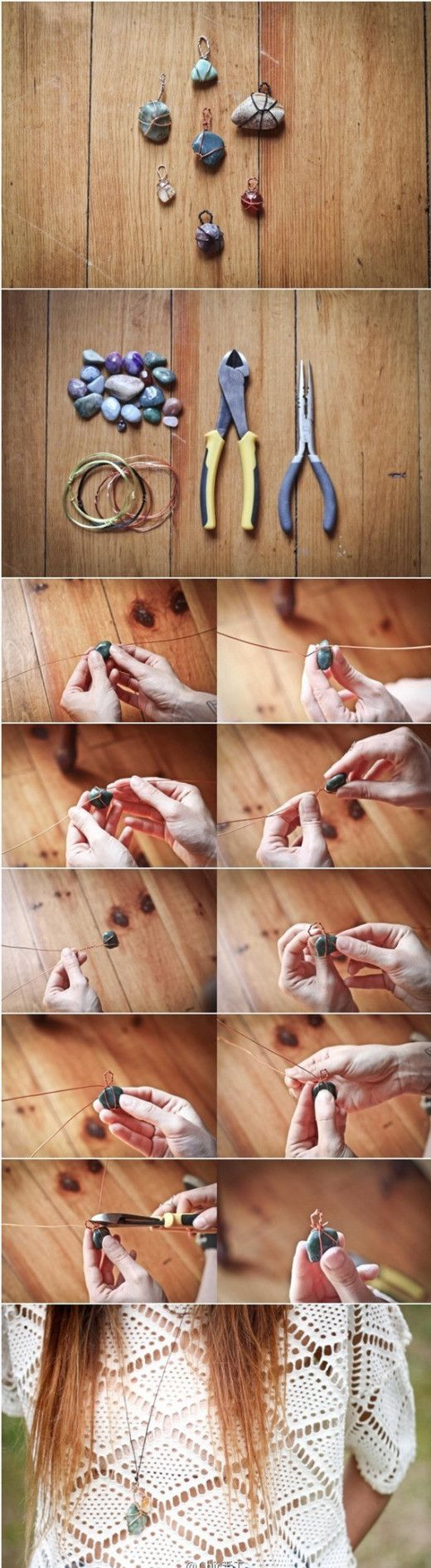 Small stone necklace #DIY