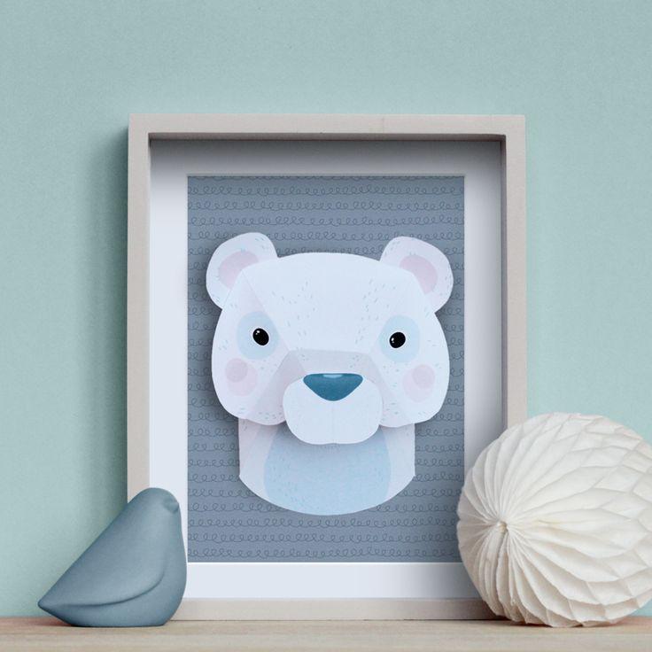 Trophée animaux en papier : ours blanc #DIY #trophee #trophy #bear #paper www.idee-creative.fr