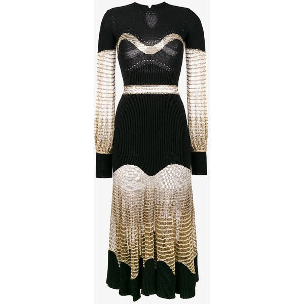 Alexander Mcqueen Metallic Mesh Knit Dress ($2,510) ❤ liked on Polyvore featuring dresses, black, ribbed dress, long sleeve knit dress, long sleeve ribbed dress, long sleeve dress and long sleeve mesh dress