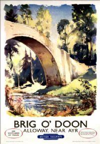 Brig O'Doon, Alloway, near Ayr. Vintage BR (SR) Travel Poster by Jack Merriott