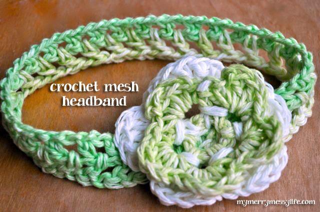 My Merry Messy Life: Crochet Baby & Girl Mesh Headband {Free Pattern}