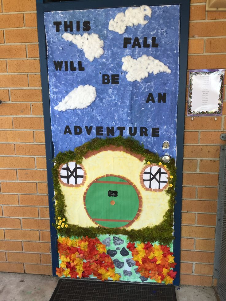 The Hobbit or Lord of the Rings themed classroom door done for my son's Kindergarten class for Fall. This is Bag End, Bilbo/Frodo's home. Look in the clouds for a secret picture. :)