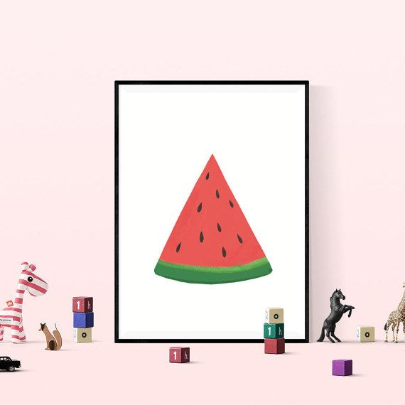 Watermelon Digital Download Print, Kitchen Art, 8x10 inch Fruit Print