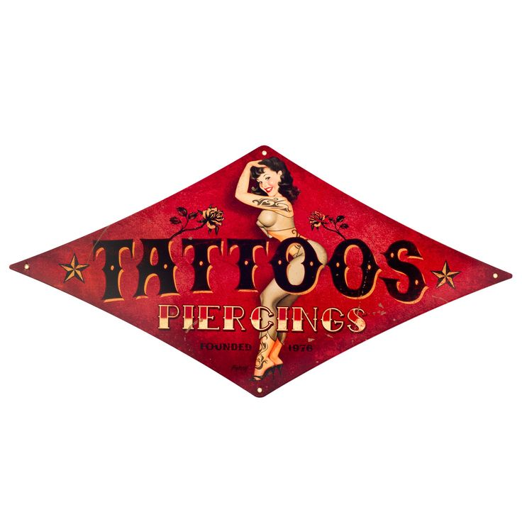 Steel Tattoos Piercing Shop Pinup Sexy Woman Metal Sign Vintage