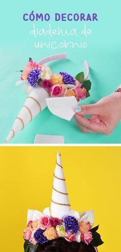 Si te encantán los unicornios esta idea le encantará a la más pequeña del hogar, es muy fácil de hacer y puedes combinar tu flores favoritas.