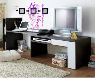Tv And Desk Combo Decor Pinterest Bookcase Desk Tv
