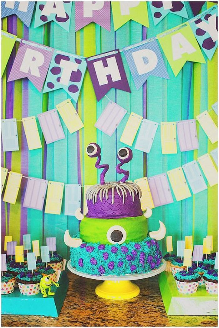 Monsters Inc themed birthday party via Kara's Party Ideas KarasPartyIdeas.com Cake, decor, banners, desserts, food, and more! #monstersinc #monsteruniveristy #monsterparty #monstersincparty (2)