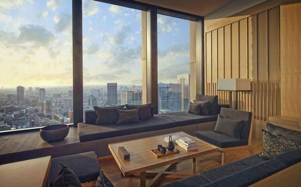 Aman Tokyo is a Tokyo hotel offering minimalist interiors, traditional Japanese spa treatments, fabulous city views, spacious rooms and excellent food, near the Imperial Palace and Tokyo Station. Click on the right of the image below for more photographs.