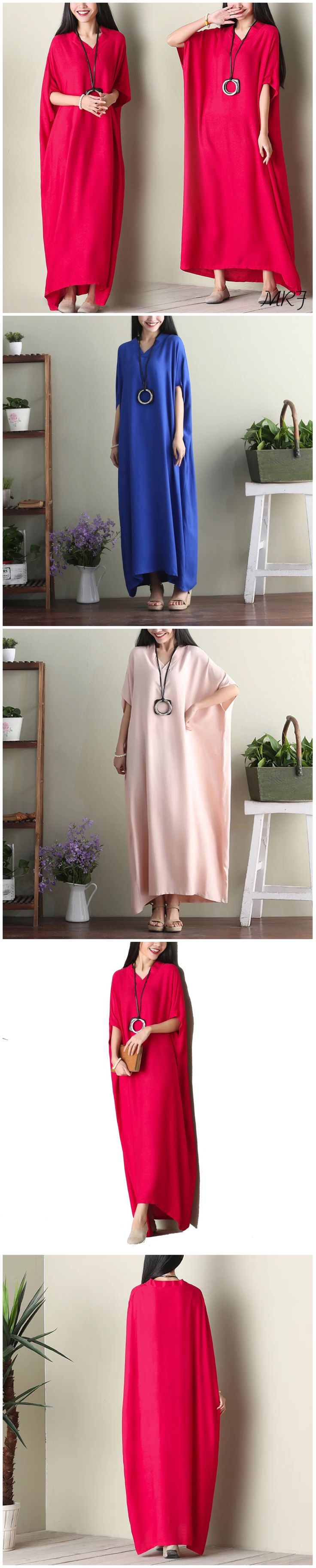 Three colors bat sleeves loose dresses women's clothes