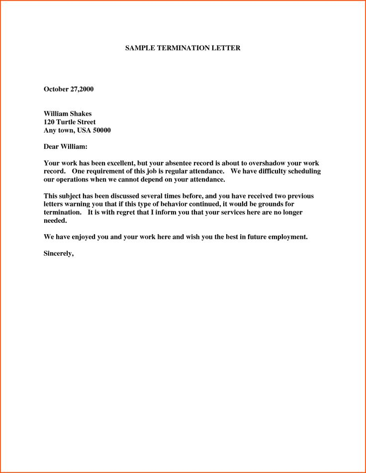 Termination Letter Sample. Therapy Termination Letter Template