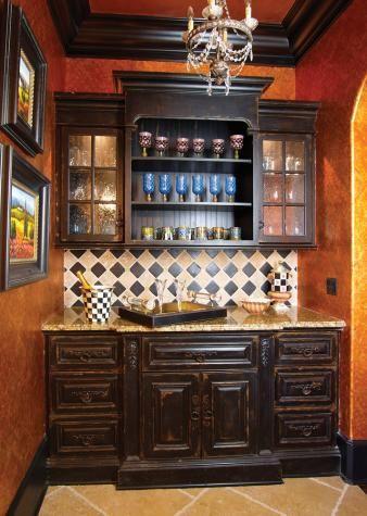 Butler's PantryWall Colors, Decor, Kitchens, Wet Bar, Butler Pantries, S'Mores Bar, Black Cabinets, Pantries Ideas, Butler Pantry