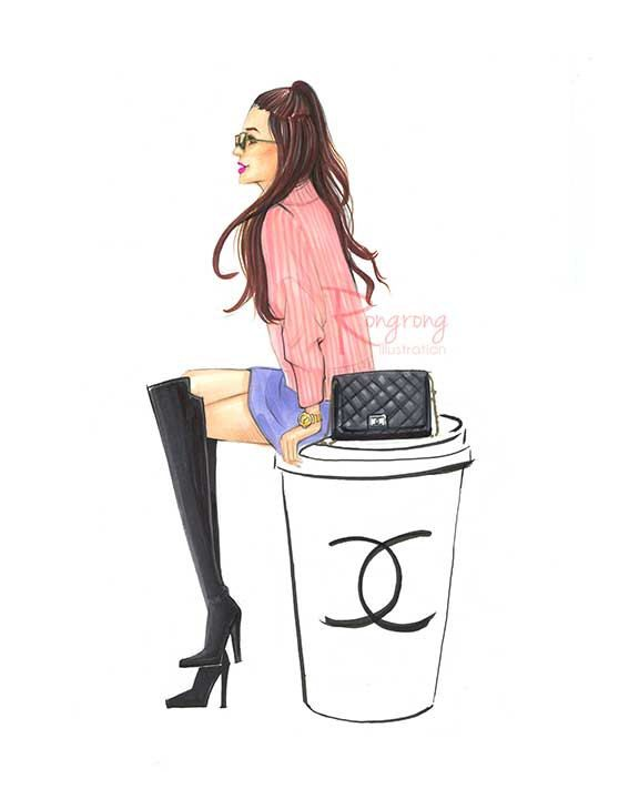 Chanel lover Print Chanel and coffee by RongrongIllustration