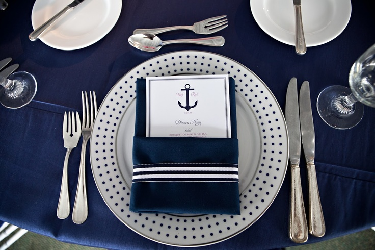Nautical Menu and Napkin Detailing by Lindsay Landman Events, Photo by Sofia Negron