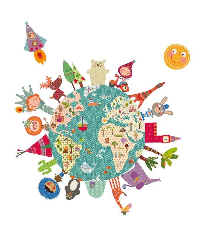 Vinilo infantil bola del mundo feliz | DECOHAPPY | Pinterest