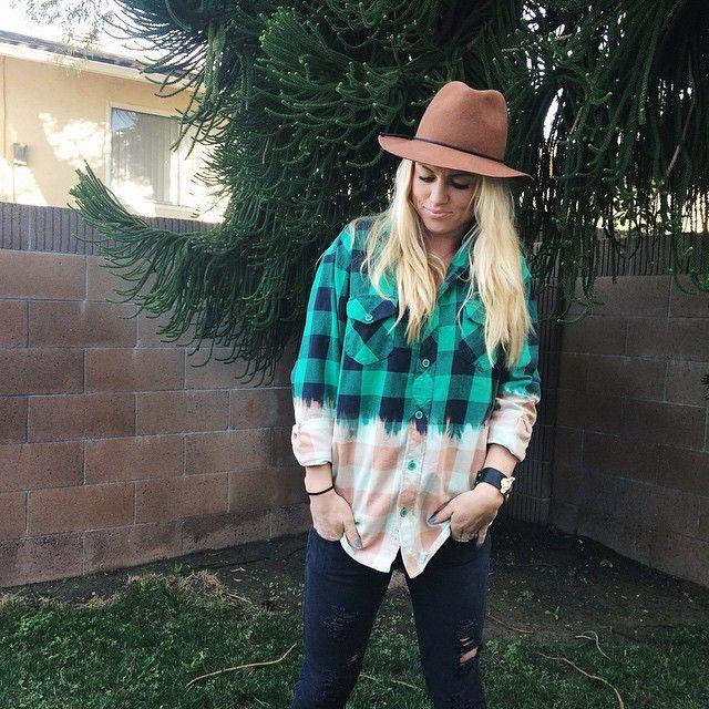 DIY Bleached Flannel   Camel Fedora  Fashion Blogger
