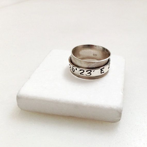 Personalized Spinner Ring Latitude Longitude by PiscesAndFishes