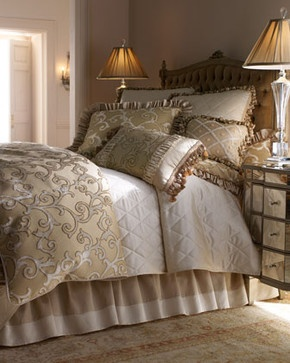 Isabella Collection Hyde Park Bed Linens Queen Scroll Duvet Cover, 92W x 98L - traditional - duvet covers - Horchow
