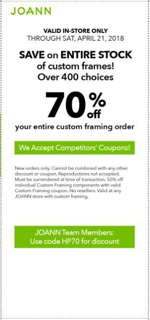 Joann Coupon: 70% Off Custom Framing in 2018 | Printable Coupons ...