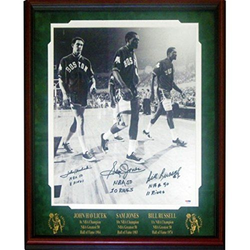 Bill Russell, John Havlicek And Sam Jones Autographed Framed 16x20 Photo (PSA) -- Check out the image by visiting the link.