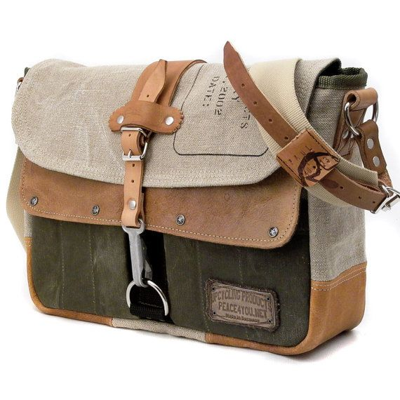 Canvas Leather Messenger Bag // Handmade & Upcycled by peace4you, GERMANY // Model paul-2037