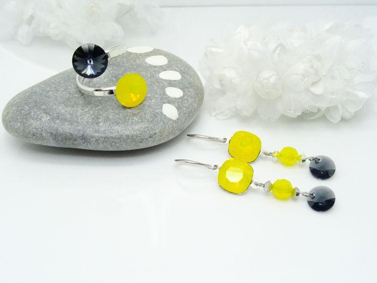 Parure : Bague double cabochon en Argent 925, Boucles d'oreilles cabochon et Pendentif Rivoli cristal Swarovski jaune opale : Parure par madely