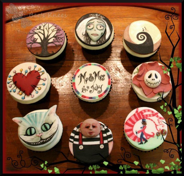 Tim Burton themed wedding cupcakes by Bee's Knees