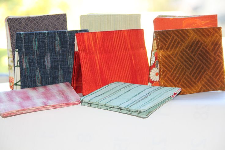 Commuter wallets in various Kimono and Japanese fabric variations.