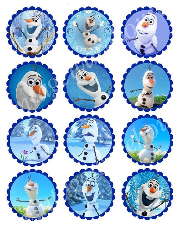 Olaf Snowman Printable -Disney's FROZEN OLAF Craft Circles - Instant Download - Cupcake Toppers, Round Stickers, Party Supplies - 3 sizes