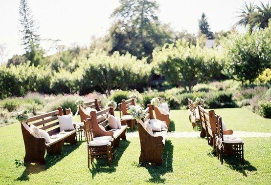 Wedding Ideas: wooden-pew-wedding-ceremony-decorations