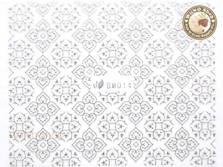 Silver Square Floral Pattern Adhesive Nail Sticker Nail Art – 1 pc (BM014S)