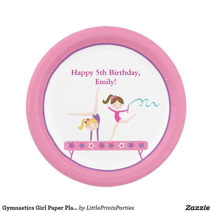 Your Custom Paper Plates 7   sc 1 st  Pinterest & 11 best Emilyu0027s 5th birthday - gymnastics images on Pinterest | 5th ...
