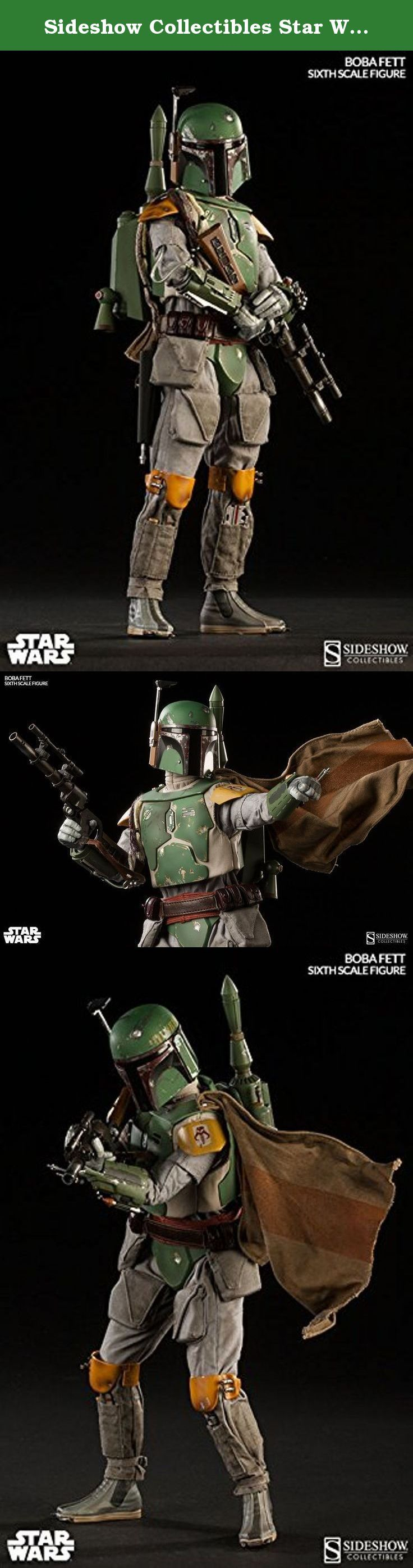 Sideshow Collectibles Star Wars 12 Inch Deluxe Action Figure Scum Villainy Boba Fett. The Boba Fett 12 inch Figure features: - Articulated Prometheus 1.1 body with over 30 points of articulation - Newly developed and sculpted forearms and chest - Highly detailed Mandolorian Boba Fett helmet - Fabric Flight Suit - Flight Suit Vest - Mandolorian Duraplast Body Armor Plates - Cape - Belt with four (4) utility pouches - Braided honor sash - Blaster Pistol Holster - Blaster Pistol - EE-3 mark…
