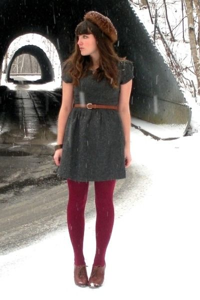 Cute winter outfit - raspberry tights, sweater dress, and acorn-esque hat ♥: Fashion, Sweater Dresses, Style, Cute Winter Outfits, Dresses In Winter, Tights, Closet, Dresses Outfits Clothes, Fall Winter