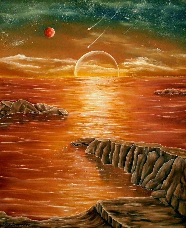 Poster,  fantasy,sunset,coastal,scene,ocean,sea,water,planets,earth,cosmos,sky,rocks,island,dreamy,dreamlike,impressive,gold,golden,colorful,multicolor,orange,brown,beautiful,image,images,fine,oil,painting,contemporary,scenic,modern,virtual,deviant,wall,art,awesome,cool,artistic,artwork,for,sale,home,office,decor,decoration,decorative,items,ideas