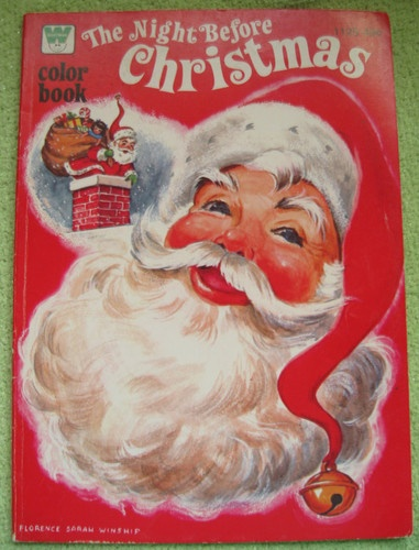 NIGHT BEFORE CHRISTMAS Coloring Book VINTAGE 1977 SANTA CLAUS REINDEER MOORE